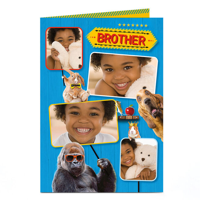 Photo Birthday Card - Animals With Signs [Brother]
