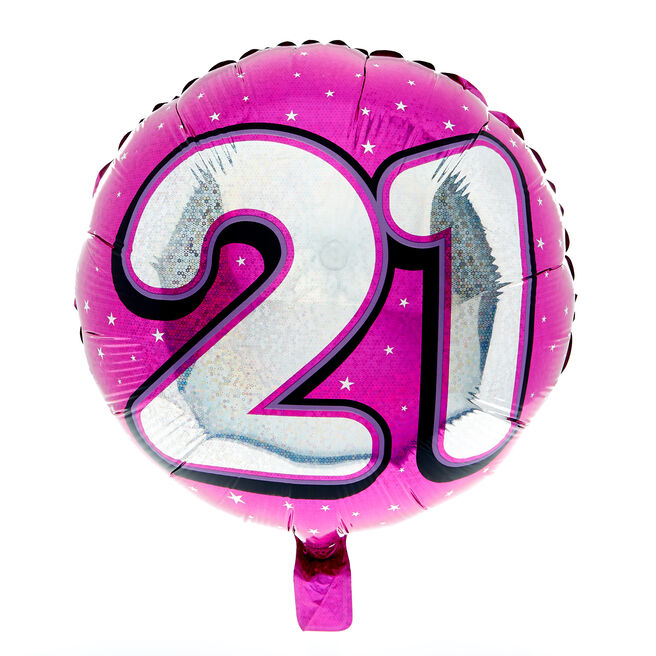 Holographic Pink Age 21 Foil Helium Balloon