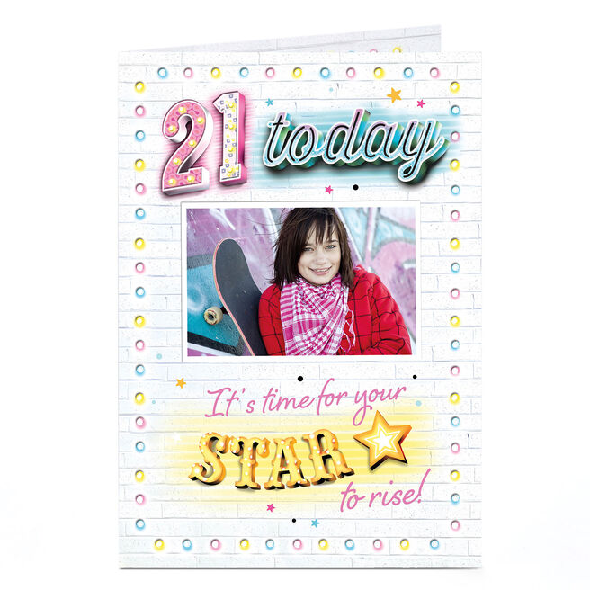 Photo 21st Birthday Card - Star