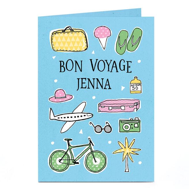 Personalised Bon Voyage Card - Travel Illustrations