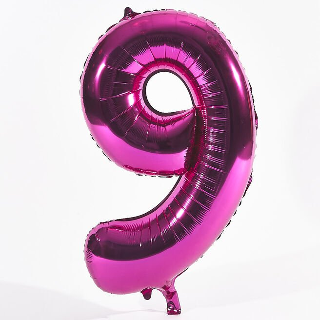 Pink Number 9 Foil Giant Helium Balloon (Deflated)