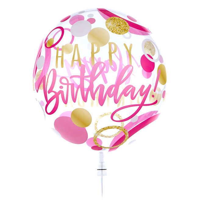 22-Inch Bubble Balloon - Happy Birthday, Pink & Gold Spots - DELIVERED INFLATED!