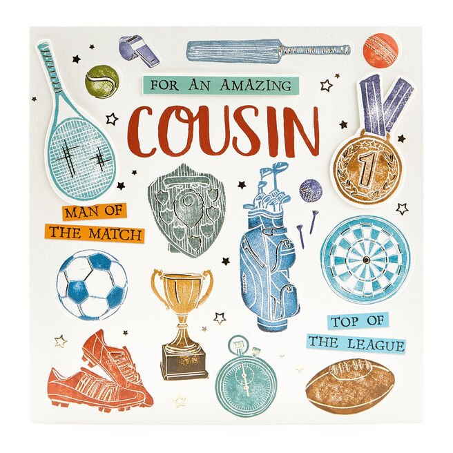 VIP Collection Birthday Card - Cousin Sports Equipment