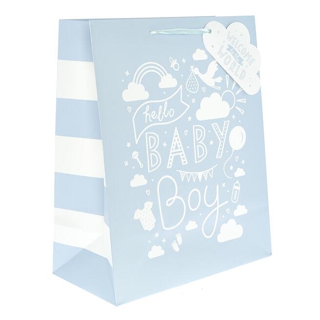 Medium Portrait Gift Bag - Hello Baby Boy