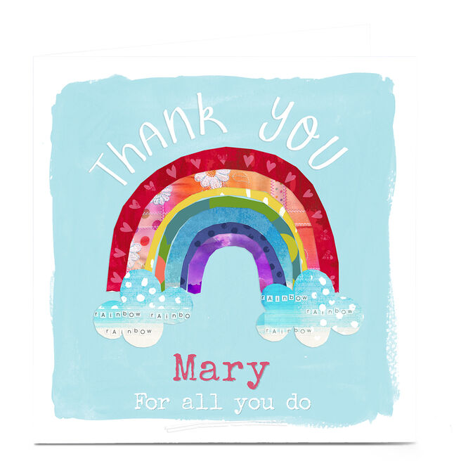 Personalised Kerry Spurling Thank You Card - Rainbow