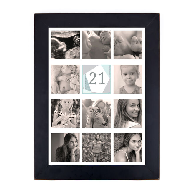 Personalised 21st Milestone Age Photo Print - Geometric Mint