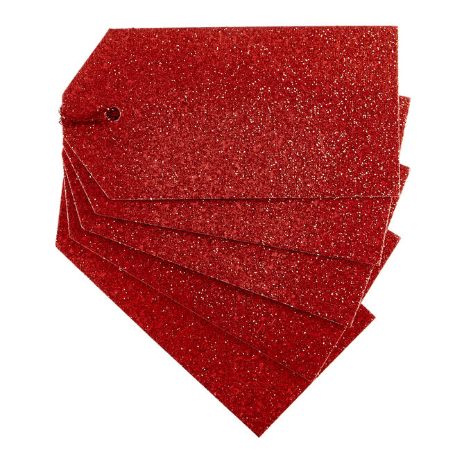 Red Glitter Gift Tags - Pack Of 10