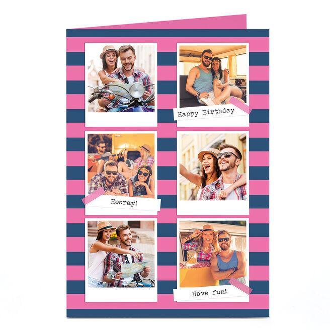Photo Birthday Card - Six Polaroids Stripes