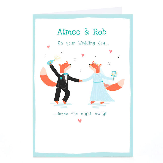 Personalised Hannah Steele Wedding Card - Foxes
