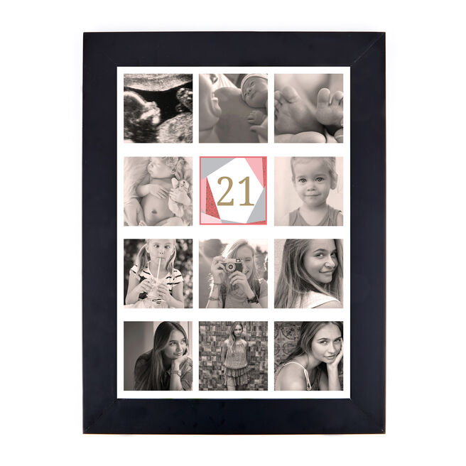 Personalised 21st Birthday Photo Print - Geometric, Pink