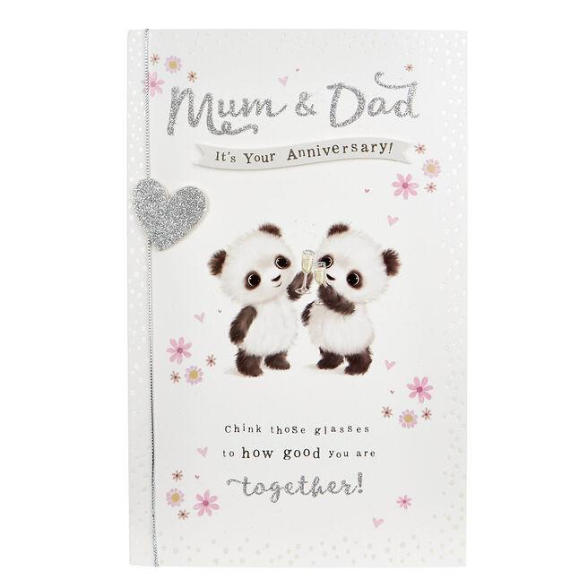 Anniversary Card - Mum & Dad, Pandas