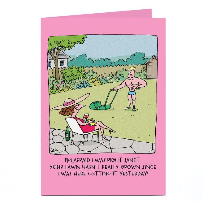 Personalised Card - Lawn Cutting Cartoon