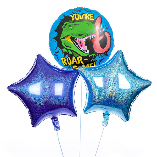 Roar-Some 6th Birthday Balloon Bouquet - DELIVERED INFLATED!