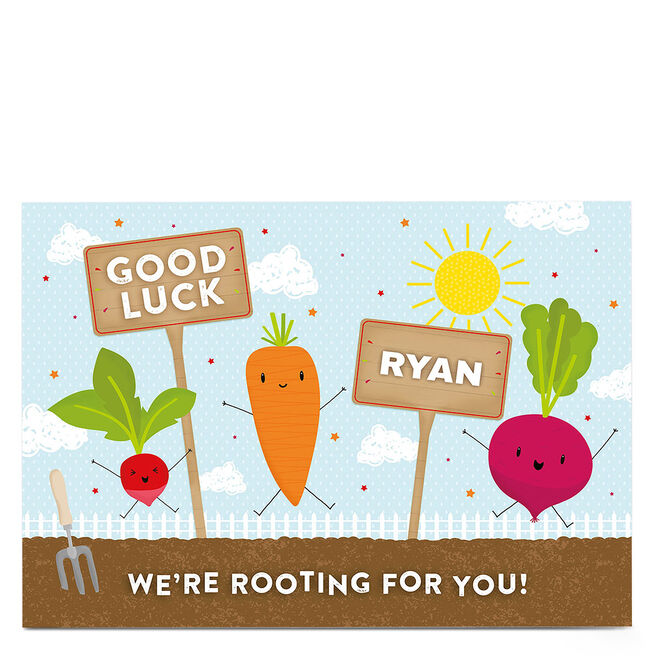 Personalised Good Luck Card - We're Rooting For You