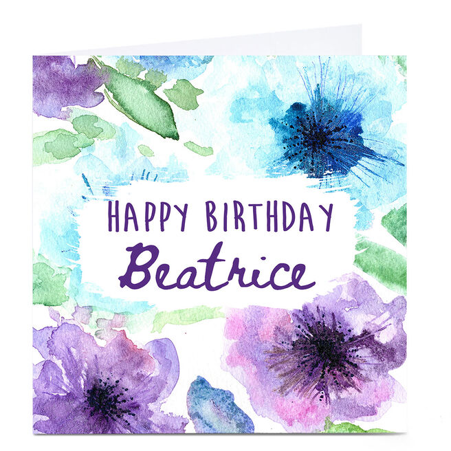 Personalised Emma Isaacs Birthday Card - Watercolour Blue