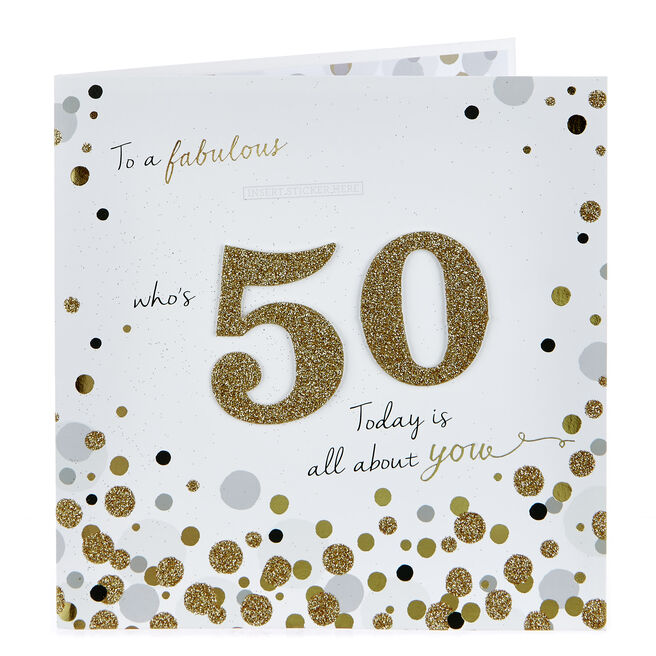 Exquisite Collection 50th Birthday Card - Female Relation Stickers