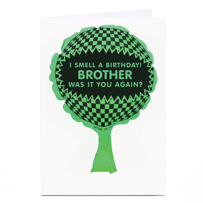 Personalised Birthday Card - Whoopie Cushion, Brother