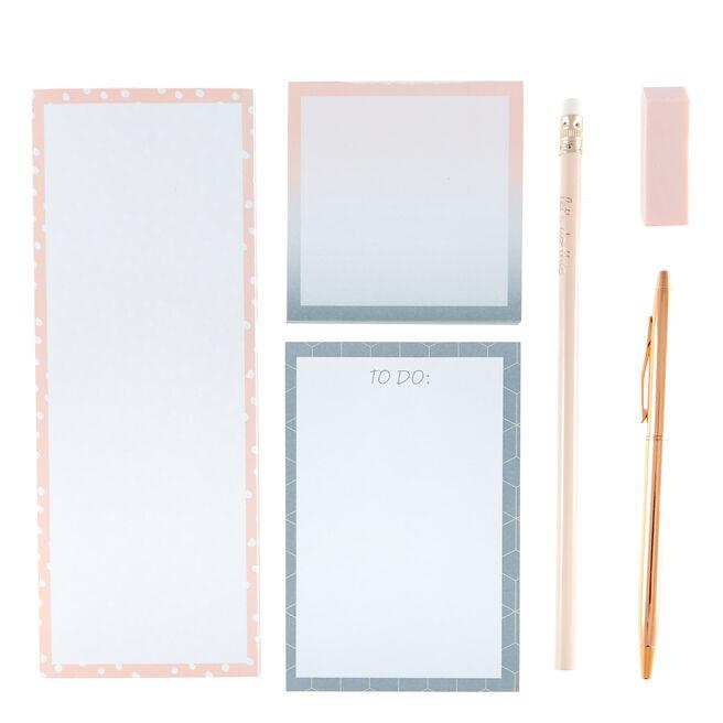 Rose & Grey Note Pad & Stationery Set