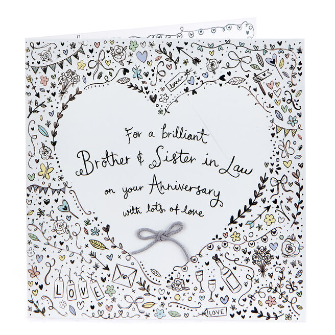 Boutique Collection Anniversary Card - Brother & Sister In Law