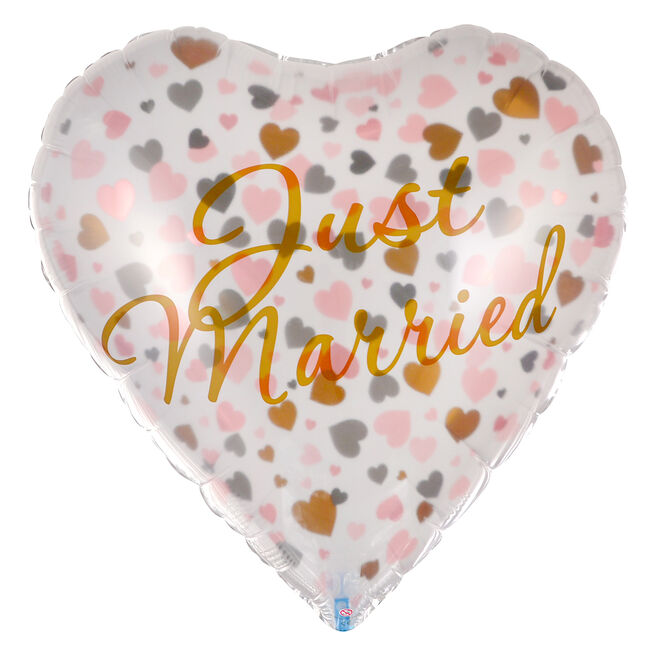 Heart-Shaped Just Married 24-Inch Foil Helium Balloon