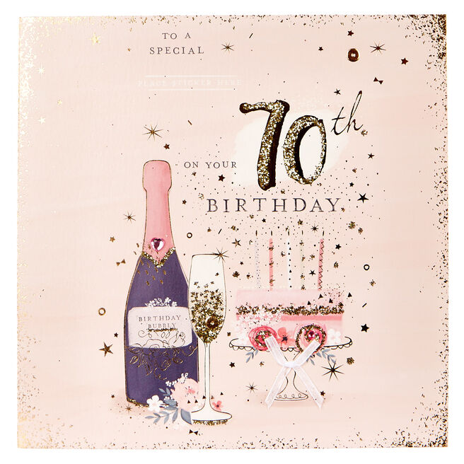 Exquisite Collection 70th Birthday Card - Any Female Recipient (Stickers Included)