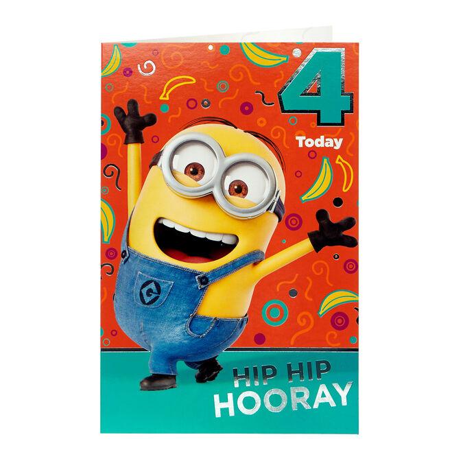 Minions 4th Birthday Card