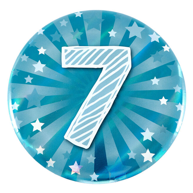 Giant 7th Birthday Badge - Blue