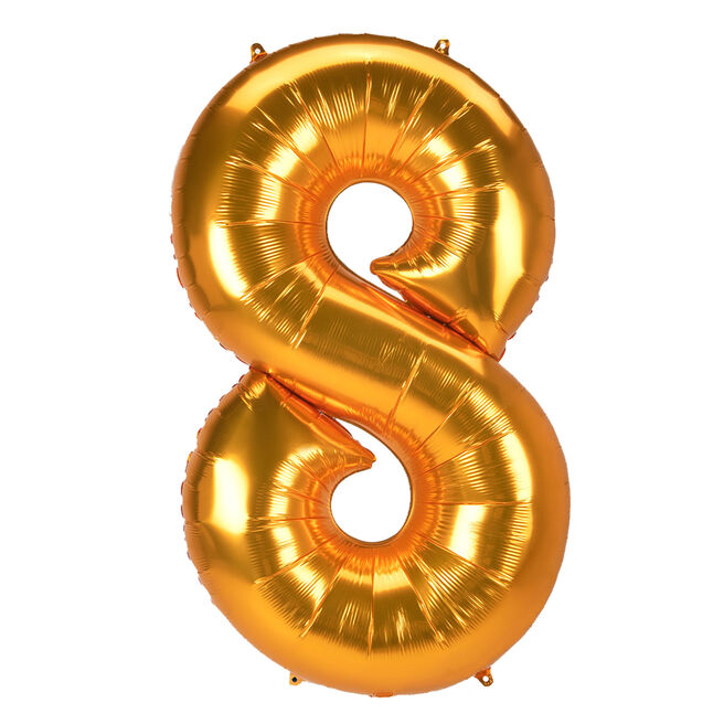JUMBO 53-Inch Gold Foil Number 8 Balloon (Deflated)