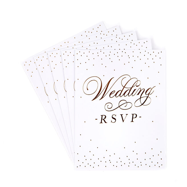 White & Gold Wedding RSVP Postcards - Pack of 12