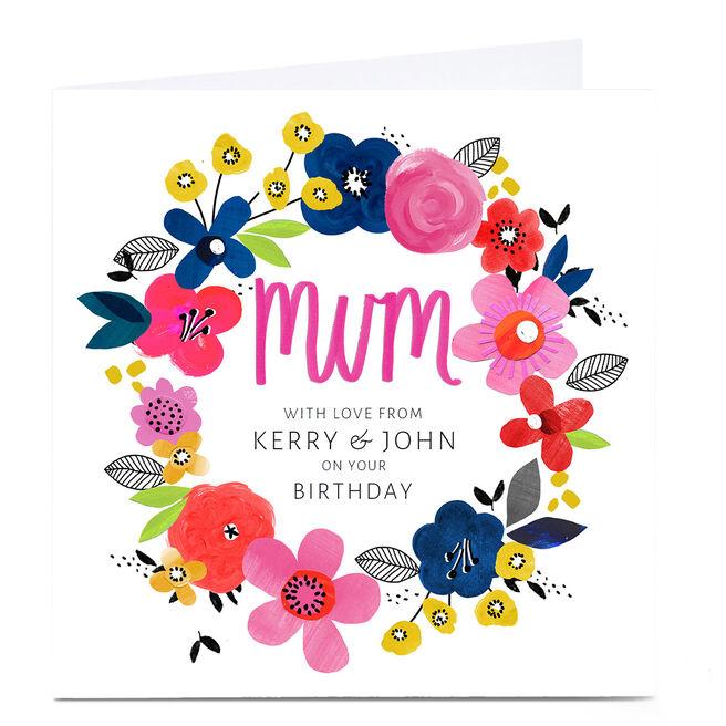 Personalised Kerry Spurling Birthday Card - Flowers, Mum