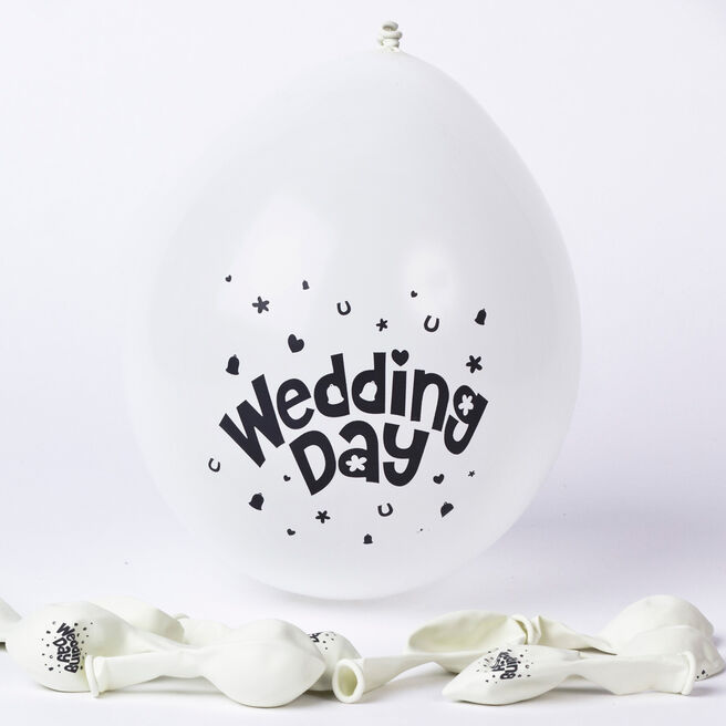 White Wedding Day Small Latex Balloons - Pack Of 10