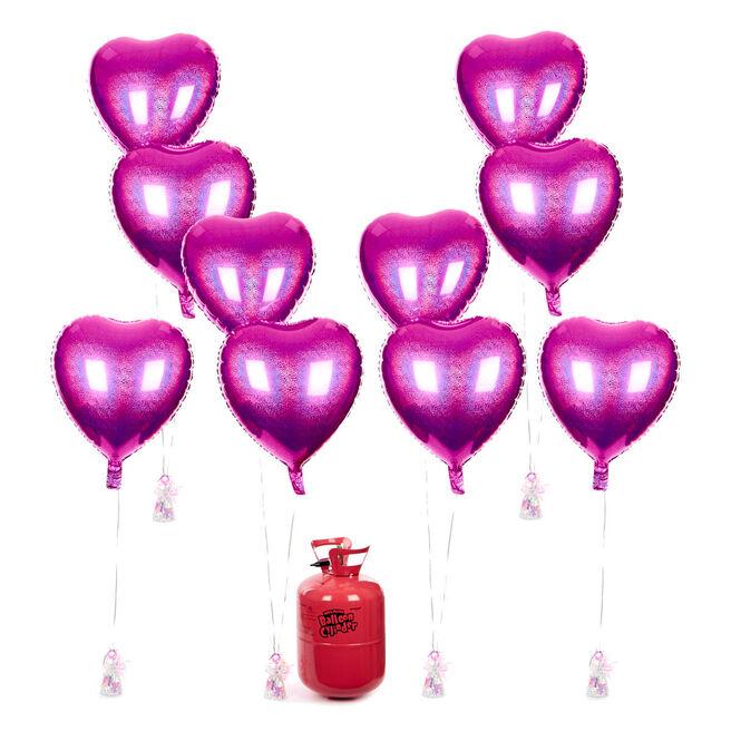 Party Balloon Bundle - 10 Fuchsia hearts & Helium