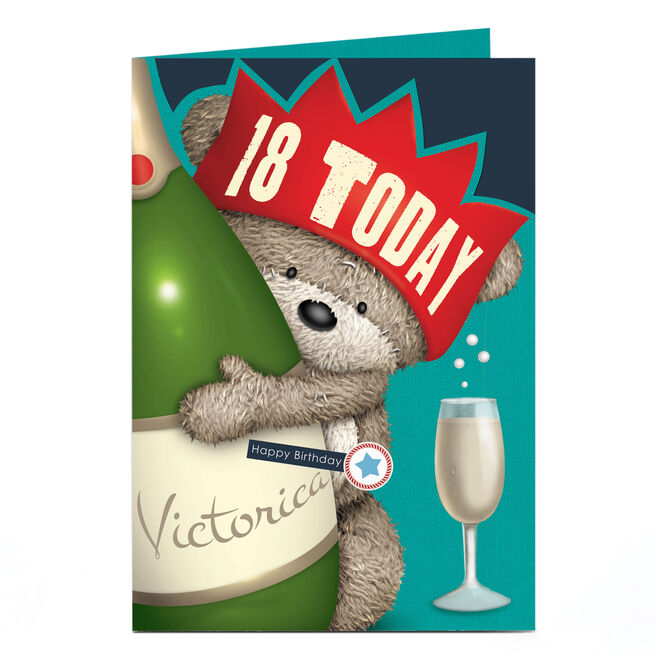 Personalised Hugs Bear Any Age Birthday Card - Champagne