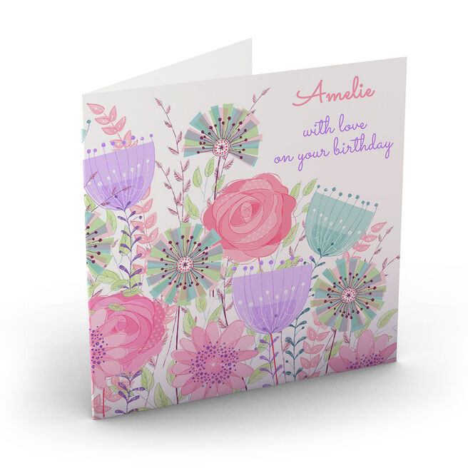 Personalised Nik Golesworthy Birthday Card - Pastel Flowers