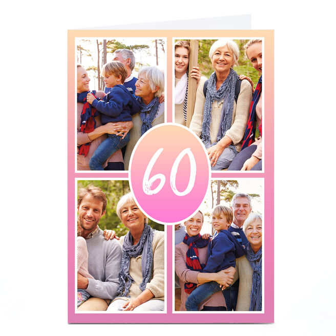 Personalised 60th Milestone Age Photo Card - Pink Gradient