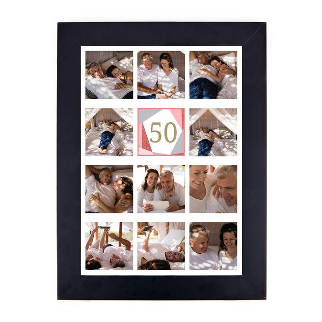Personalised 50th Birthday Photo Print - Geometric, Pink