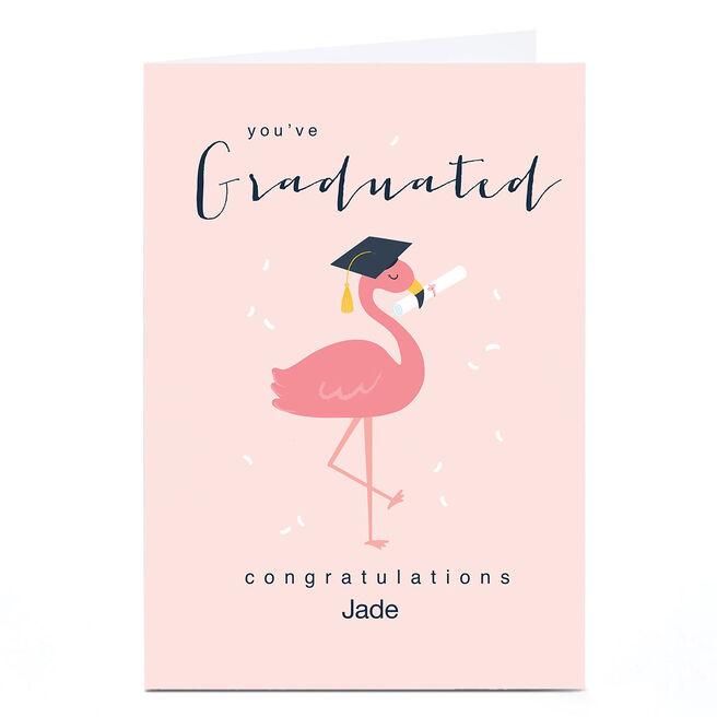 Personalised Klara Hawkins Graduation Card - Flamingo