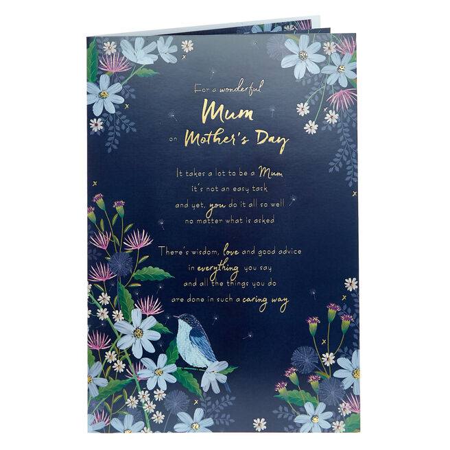 Mother's Day Card - Wonderful Mum Blue Flowers