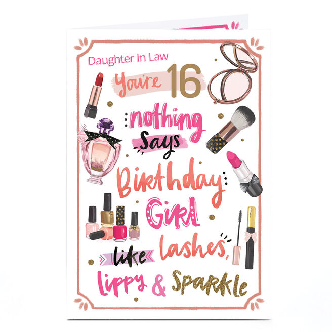 Personalised Any Age Birthday Card - Pink Lashes, Lippy & Sparkle