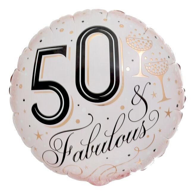 Fabulous 50th Birthday 18-Inch Foil Helium Balloon