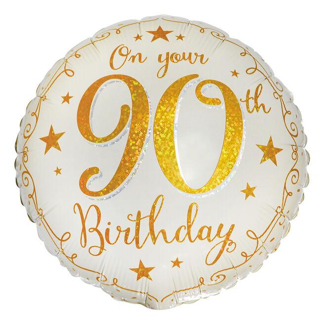 Gold Stars 90th Birthday 18-Inch Foil Helium Balloon
