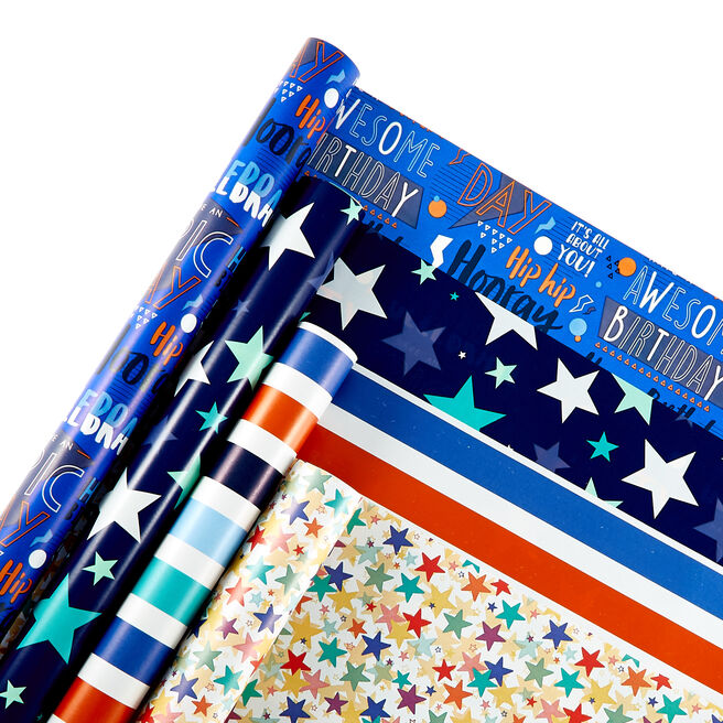 Assorted Starry & Stripy Wrapping Paper - 4 Rolls