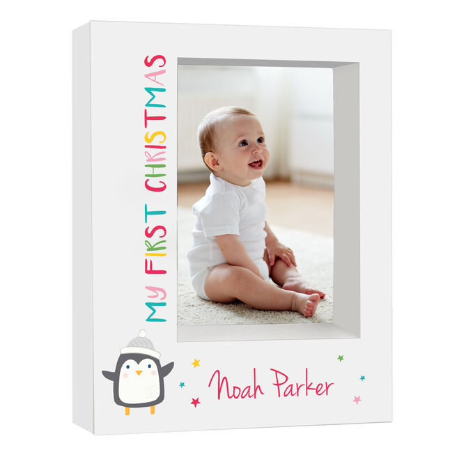 Personalised Baby Box Photo Frame - My First Christmas Penguin