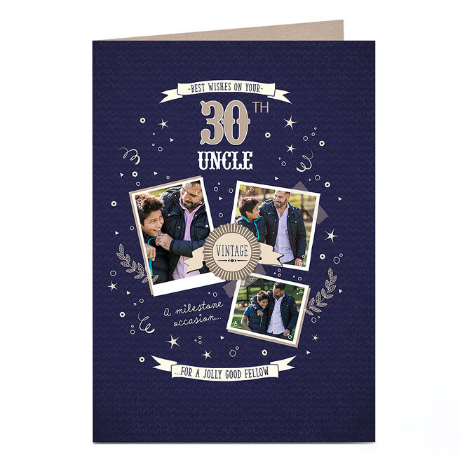 Any Age Photo Birthday Card - Vintage Gold [Uncle]
