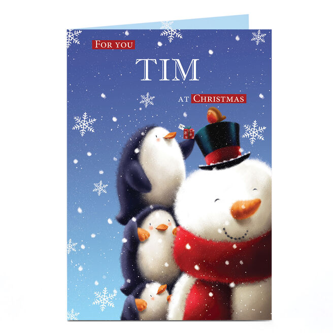 Personalised Christmas Card - Penguins & A Snowman