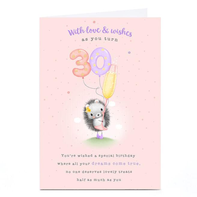 Personalised 30th Birthday Card - Cute Hedgehog