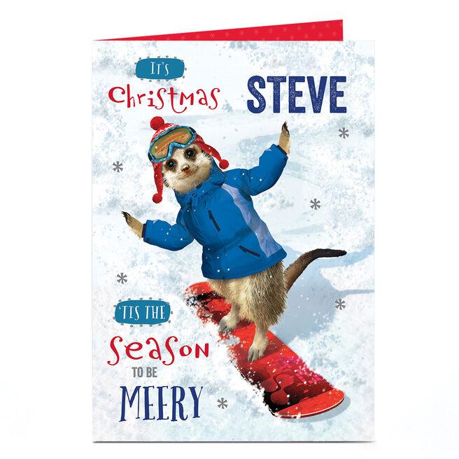 Personalised Christmas Card - Snowboarding Meerkat