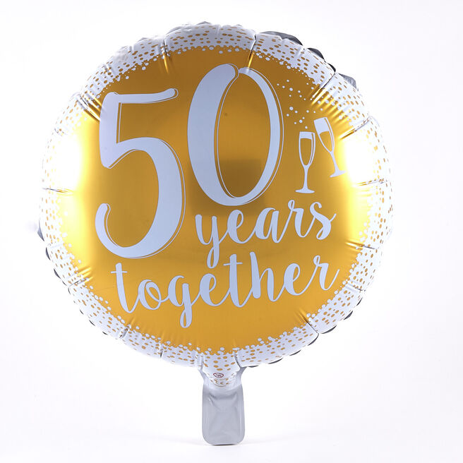 50 Years Together Gold Anniversary Foil Helium Balloon