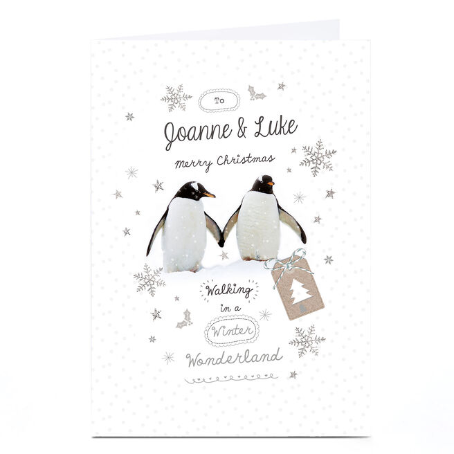 Personalised Christmas Card - Penguin Couple