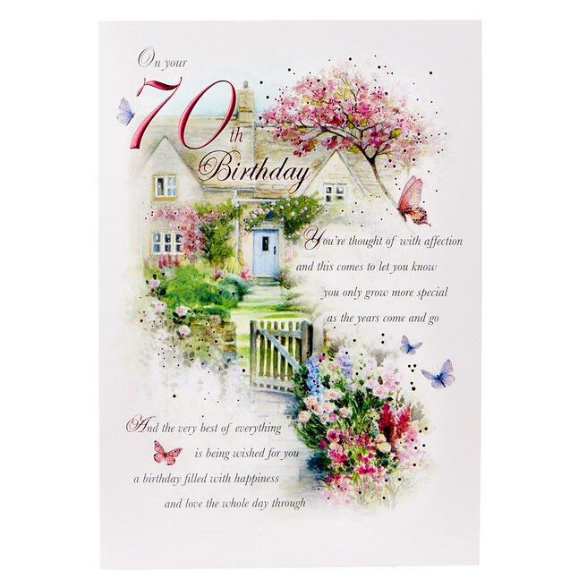 70th Birthday Card -Butterfly Garden